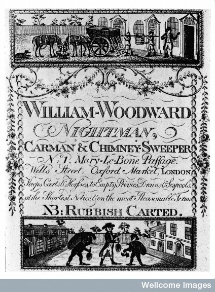 M0011054 Trade card for William Woodward, 18th century.