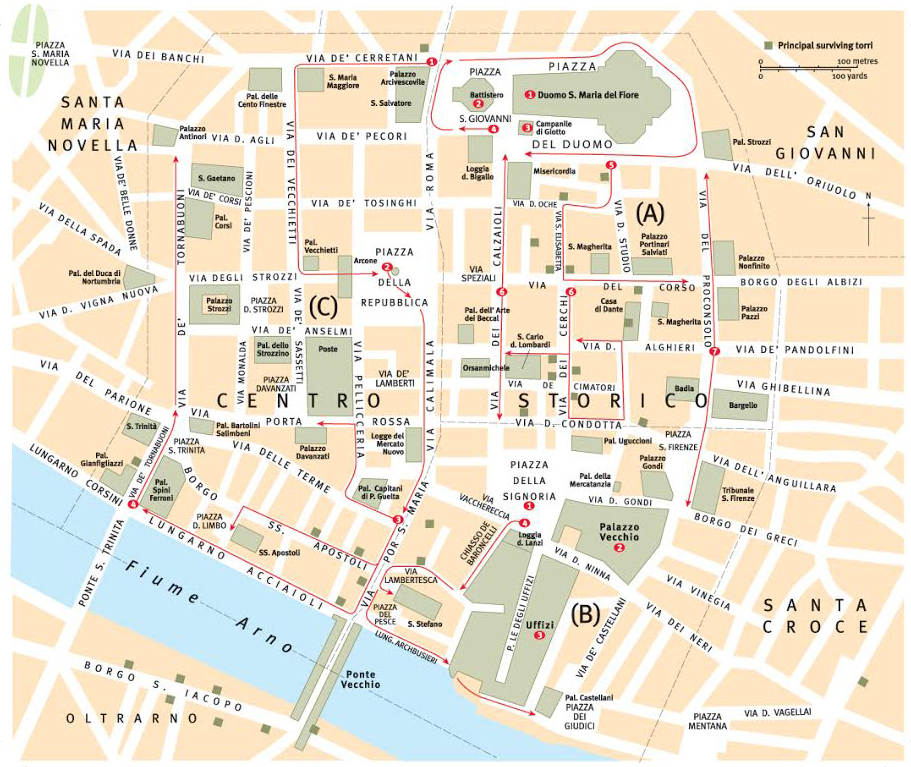 Florence Travel Guide Map