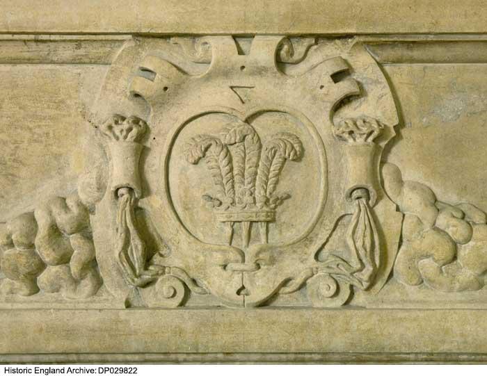 Apethorpe Hall, Apethorpe, Northamptonshire. East range, first floor, Duke's Chamber chimney-piece detail of lintel *temp* Apethorpe Hall, Apethorpe, Northamptonshire. East range, first floor, Duke's Chamber chimney-piece detail of lintel