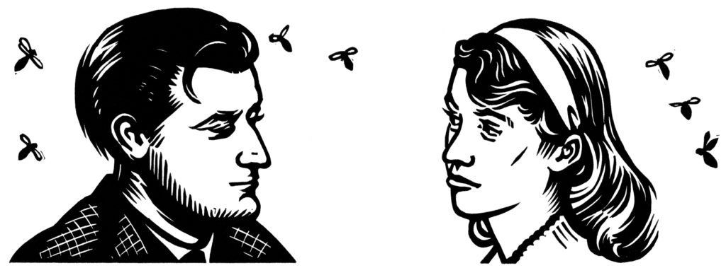Hughes and Plath illustration by Nick Morley